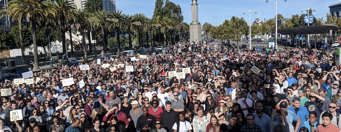 #GoogleWalkout in San Francisco, California on November 1, 2018 via Google Walkout for Real Change (https://medium.com/@GoogleWalkout/googlewalkout-update-collective-action-works-but-we-need-to-keep-working-b17f673ad513)